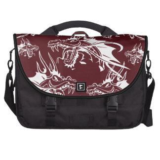 Diseño fresco rojo de la fantasía de la criatura m bolsas para portátil