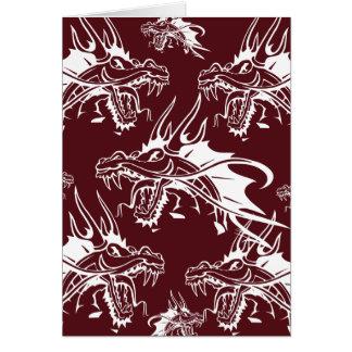 Diseño fresco rojo de la fantasía de la criatura tarjeta de felicitación