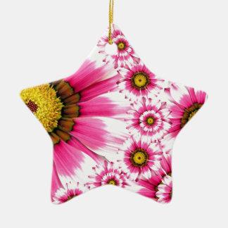 Diseño fucsia del caleidoscopio de la flor de las adorno navideño de cerámica en forma de estrella