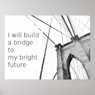 Diseño futuro brillante del puente de Broklyn Póster