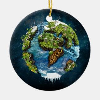 Diseño futuro fresco del globo de la tierra del adorno navideño redondo de cerámica