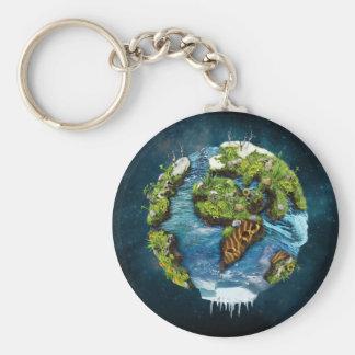 Diseño futuro fresco del globo de la tierra del llavero redondo tipo pin