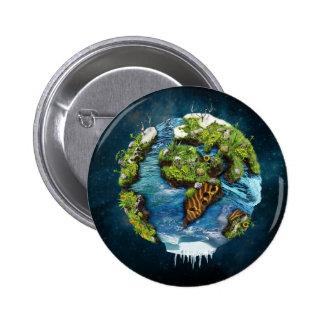 Diseño futuro fresco del globo de la tierra del pin redondo de 2 pulgadas