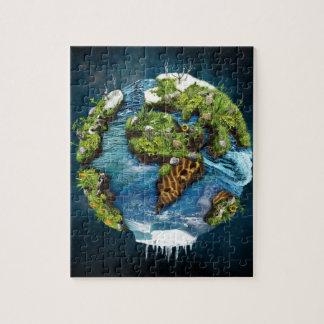 Diseño futuro fresco del globo de la tierra del puzzle