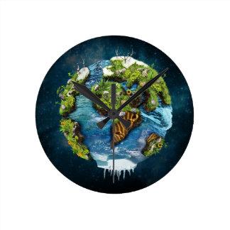 Diseño futuro fresco del globo de la tierra del reloj redondo mediano
