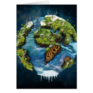 Diseño futuro fresco del globo de la tierra del tarjeta de felicitación