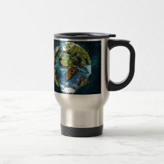 Diseño futuro fresco del globo de la tierra del taza térmica