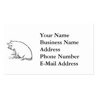Diseño gallardo del bosquejo del cerdo tarjetas de visita