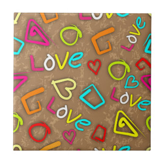 Diseño garabateado amor brillante azulejos