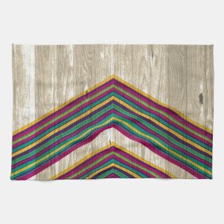 Diseño geométrico abstracto moderno en la madera toalla de cocina