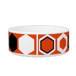 Diseño geométrico anaranjado del arte abstracto tazón para agua para gatos