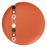 Diseño geométrico anaranjado del arte abstracto platos para fiestas