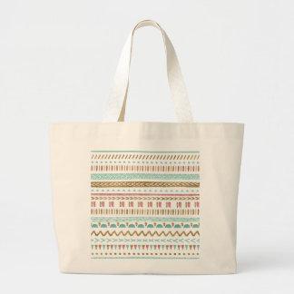 Diseño geométrico azteca tribal de la pintura bolsa de tela grande