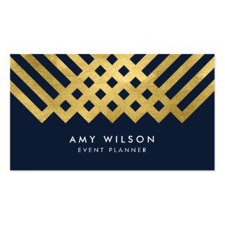Diseño geométrico azul marino del oro moderno y tarjetas de visita