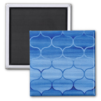 Diseño geométrico azul pintado de Ogee Imán Cuadrado