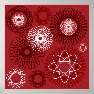 Diseño geométrico blanco rojo del Spirograph del m Póster