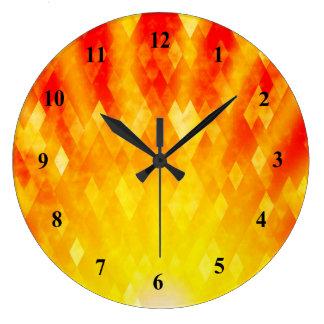 Diseño geométrico brillante del resplandor solar reloj redondo grande