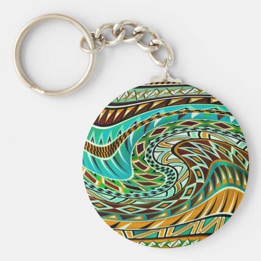 Diseño geométrico colorido llavero personalizado