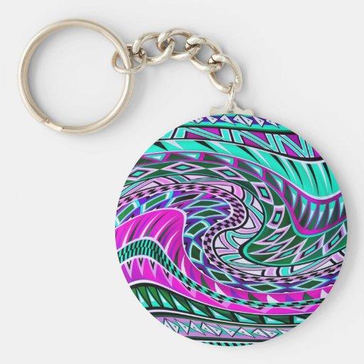 Diseño geométrico colorido llaveros personalizados