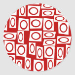 Diseño geométrico de la diversión del cuadrado bla etiqueta redonda