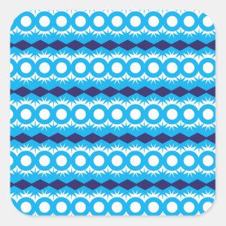 Diseño geométrico del modelo de las azules pegatina cuadrada
