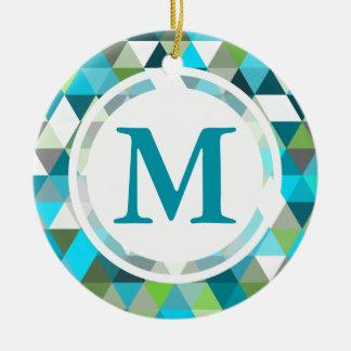 Diseño geométrico del modelo del verde azul del adorno navideño redondo de cerámica
