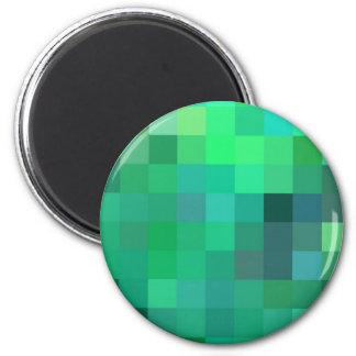 Diseño geométrico del remiendo verde natural imán redondo 5 cm