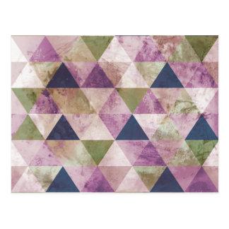 Diseño geométrico del triángulo azul, verde y postal