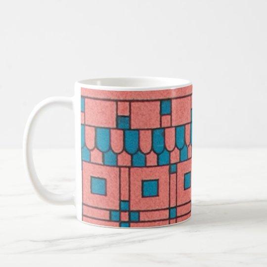Diseño geométrico en colores pastel asirio del taza de café