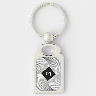 Diseño geométrico, espiral cuadrado blanco y negro llavero plateado rectangular