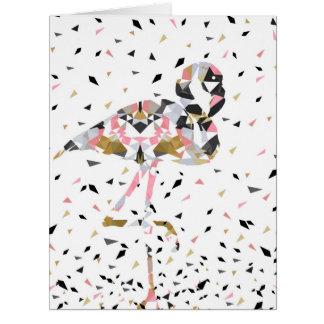 Diseño geométrico lindo del extracto del flamenco tarjeta de felicitación grande