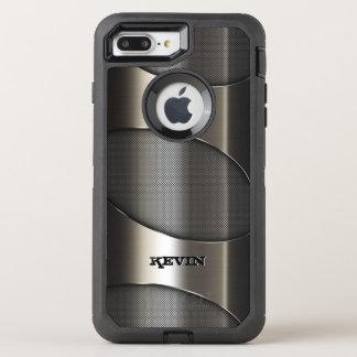 Diseño geométrico moderno de la textura metálica funda OtterBox defender para iPhone 7 plus
