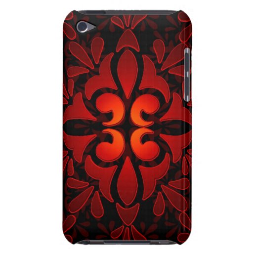 Diseño geométrico moderno negro anaranjado rojo iPod Case-Mate protectores
