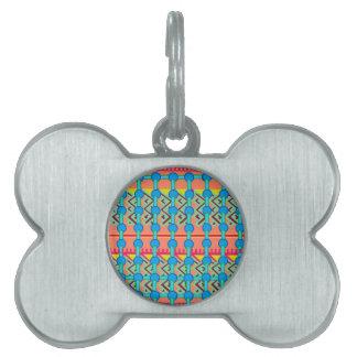 Diseño geométrico placa de nombre de mascota