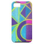 Diseño geométrico púrpura azul rosado del arte abs iPhone 5 Case-Mate cárcasa