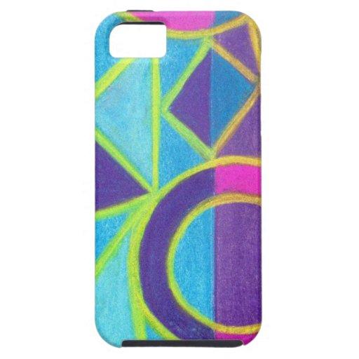 Diseño geométrico púrpura azul rosado del arte funda para iPhone 5 tough