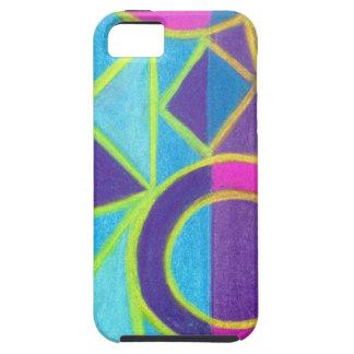 Diseño geométrico púrpura azul rosado del arte funda para iPhone SE/5/5s