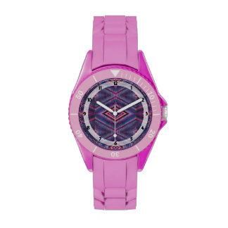 Diseño geométrico rosado púrpura relojes