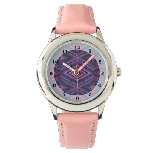 Diseño geométrico rosado púrpura reloj de mano