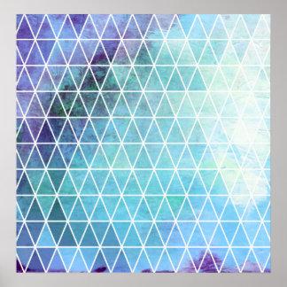 Diseño geométrico sucio azul del triángulo poster