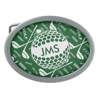 Diseño Golfing del golfista del monograma Hebillas Cinturón Ovales