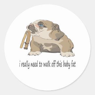 Diseño gordo del dogo del bebé pegatinas redondas