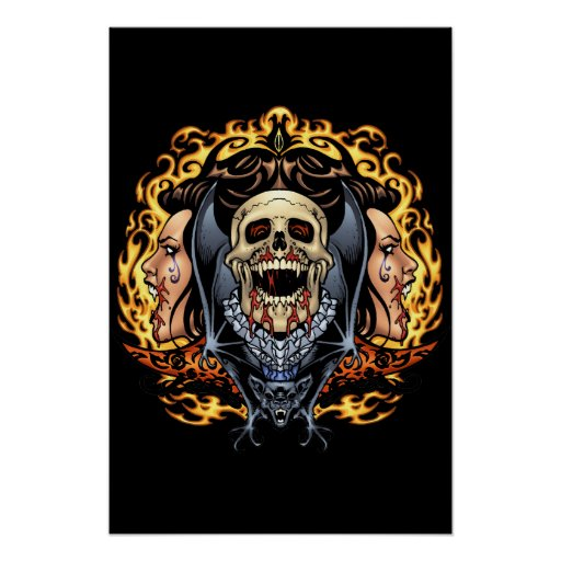Diseño gótico de los cráneos, de los vampiros y de poster