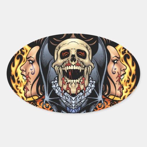Diseño gótico de los cráneos, de los vampiros y de colcomanias óval
