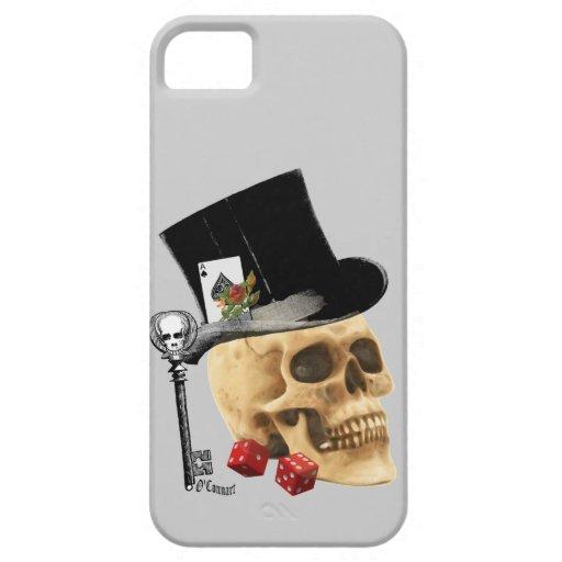 Diseño gótico del tatuaje del cráneo del jugador iPhone 5 fundas
