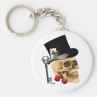 Diseño gótico del tatuaje del cráneo del jugador llavero redondo tipo pin