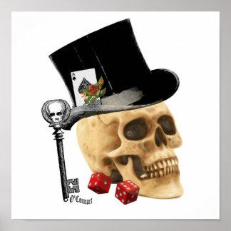 Diseño gótico del tatuaje del cráneo del jugador póster