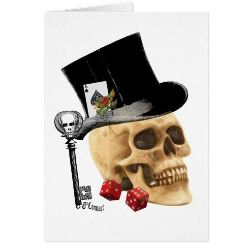 Diseño gótico del tatuaje del cráneo del jugador felicitaciones