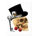 Diseño gótico del tatuaje del cráneo del jugador postal