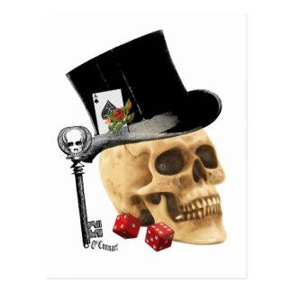 Diseño gótico del tatuaje del cráneo del jugador tarjeta postal